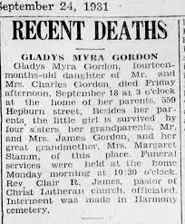Gladys Myra Gordon death report - Newspapers.com