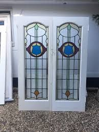 art nouveau stained glass french doors antique period old reclaimed lead wood