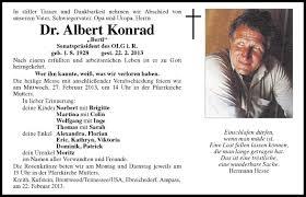 Traueranzeige Von Dr Albert Konrad Vom 25022013
