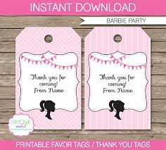Birthday Tags Template Barbie Party Favor Tags Template Thank You Tags