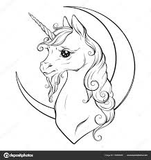 Foto Disegno Mezzaluna Da Colorare Piccolo Unicorno E Mezzaluna