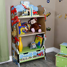 ... Teamson Boys Bookcase Transport Wooden Three Shelves Stuffed By Cute  Dolls And Some Books Grey Colour ...