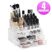 4 Drawers Clear Acrylic Makeup Cosmetics Jewelry Rack Holder Drawer Storage  Case Box Organizer