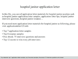Janitor Sample Resume Hospital Janitor Application Letter In This