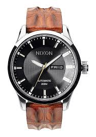automatic leather men s watches nixon watches and premium automatic leather brown gator