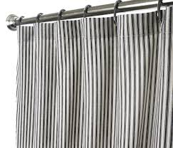fabric shower curtains ticking black to enlarge