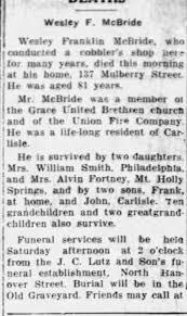 Obituary for Wesley Franklin McBride - Newspapers.com