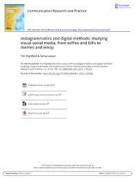 Pdf Instagrammatics And Digital Methods Studying Visual Social