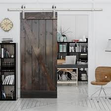 stain solid wood panelled slab interior barn door