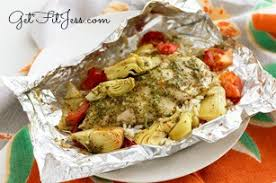 easy healthy dinner bake tilapia in oven in tin foil with artichokes tomatoes