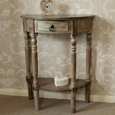 incredible brown wooden half moon console table hall table vintage style chic with regard to half moon console table