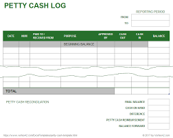 Petty Cash Log Book Petty Cash Log Template Printable Petty Cash Form