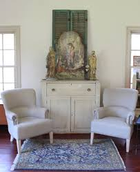 upholstered linen chair from vintage american home