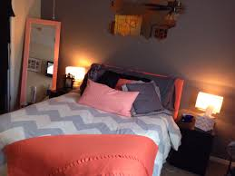 Coral/Peach U0026 Grey Chevron Bedroom