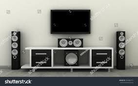 Home Tv System Design Empty Led Tv On Television Shelf Stock Illustration 334989713