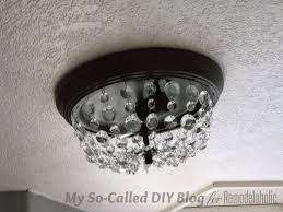 update ceiling crystal with diy flush mount ceiling