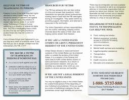Help For Victims Of Trafficking Brochure Fbi