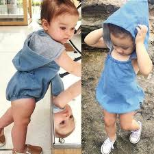 Image trendy baby Boy Childrens Fashion Update Baby Girls Trendy Denim Hooded Romper Toddler Hood Blue Jean Vintage