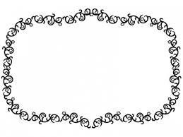 くるくるした蔦と花の囲み白黒フレーム飾り枠イラスト 無料イラスト