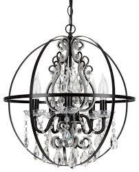 luna 5 light crystal beaded orb chandelier black