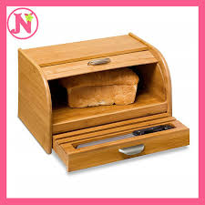 details about vintage wood bread box bamboo roll top cake snack storage bin kitchen countertop