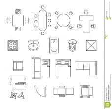 Lineare Vektorsymbole Der Möbel Grundrissikonen Vektor Abbildung