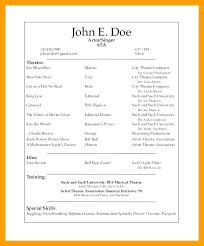 Sample Theatre Resumes Musical Theatre Resume Template Word Theater Examples Sample
