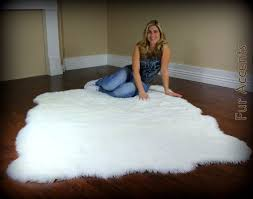 large 8ft fleece accent rug faux fur fake sheepskin pelt thick and silky soft white area