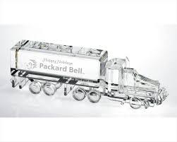end crystal semi truck 3 dimensional crystal transportation figurine