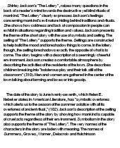 the lottery essays lottery essay gcse english marked by teachers  the lottery by shirley jackson at com essay on the lottery by shirley jackson