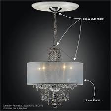 inspiring sheer lamp shade drum chandelier clip slide adapter kit magic sh001