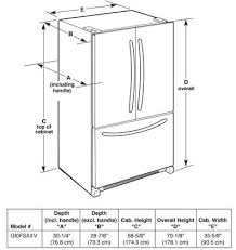 refrigerator height. whirlpool gold gi0fsaxvy interior dimensions diagram refrigerator height o
