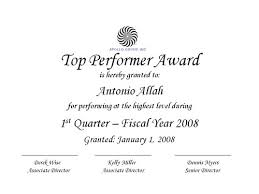 Employee Of The Quarter Certificate Top Performer Certificate