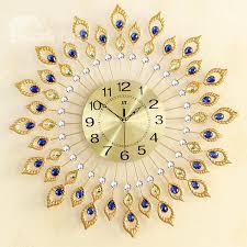 54 fabulous and elegant decorative peacock feather design metal artwork mute wall clock