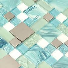 hand painted ocean blue glass tiles silver kitchen mosaic backsplash stainless steel tile le chips aqua