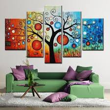 Living Room Oil Paintings Hand Painted Modern Abstract Apple Tree Oil Painting On Canvas