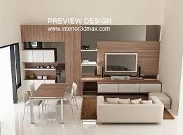 Jasa gambar online desain 3d living room ada display tv meja makan