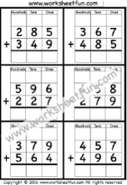 Addition Regrouping / FREE Printable Worksheets – Worksheetfun3 Digit Addition With Regrouping – Carrying – 5 Worksheets