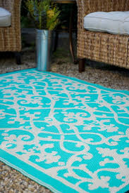 venice cream turquoise indoor outdoor rug