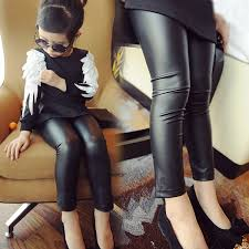 detail feedback questions about girls leggings 2 12y 2018 spring baby trousers kids faux leather skinny pants black thin fashion female childen clothing on