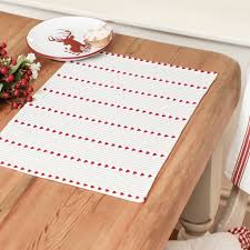 french country style red stripe fabric placemats