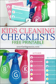 cleaning schedule printable kids cleaning checklist printables over the big moon