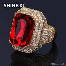 Ruby Stone Gold Ring Design 2019 Hip Hop New Design Square Cut Ruby Ring Real Gold Plated Jewelry For Women Fashion Engagement Wedding Ring From Livex516 22 12 Dhgate Com