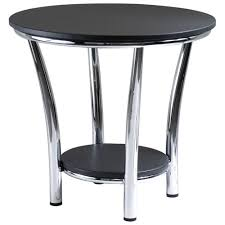 maya transitional round round end table black metal only