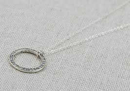 silver pendant necklace circle round pendant necklace
