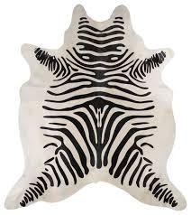 beautiful black and cream brazilian zebra striped hair on cowhide rug