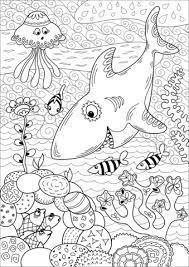 Shark Hunting In Coral Reef Coloring Page Free Printable Coloring