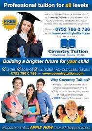 Flyer Designers Uk Coventry Tuition Leaflet Design Www Flyer Designers Co Uk