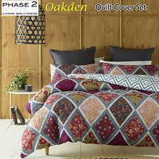 details about oakden quilted duvet doona quilt cover set queen king bed size by phase 2