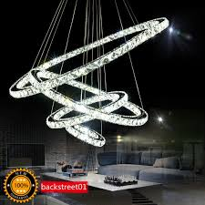 tiffany 4 circle diamond ring led crystal day light modern pendant lamp 35 42 w